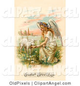 Illustration of a Pretty Blond Haired Female Victorian Easter Angel Kneeling down and Feeding a Lamb by OldPixels