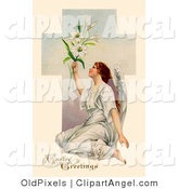 Illustration of a Pretty Victorian Angel Sitting on the Ground and Holding up Easter Lilies in Front of a Cross by OldPixels