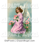Illustration of a Pretty Young Victorian Angel in a Purple Gown, Kneeling and Picking Pink Flowers on Easter by OldPixels