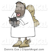 Illustration of a Religious African American Angel Reading from an Open Bible by Djart