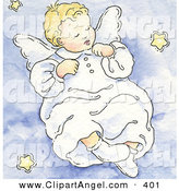 Illustration of a Sleeping White Angel Baby on a Blue Cloud with Stars by Gina Jane
