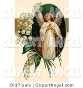 Illustration of a Sweet Beautiful Victorian Easter Angel Looking Upwards, in an Oval Adorned by Lily of the Valley Flowers by OldPixels