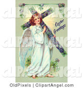 Illustration of a Sweet Victorian Angel Carrying an Easter Cross by OldPixels