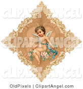 July 8th, 2012: Illustration of a Sweet Vintage Valentine of a Cute Cupid Draped in a Blue Ribbon, Sitting on Pink Flowers in the Center of a Delicate Diamond by OldPixels