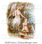 Illustration of a Sweet Vintage Valentine of a Female Guardian Angel Looking over a Little Girl As She Carries Flowers and a Basket Across a Log over a Cliff and River, Circa 1890 by OldPixels