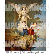 Illustration of a Sweet Vintage Valentine of a Female Guardian Angel Watching over a Little Boy and Girl As They Pick Flowers and Chase Butterflies at the Edge of a Cliff, Circa 1890 by OldPixels