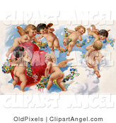 July 10th, 2012: Illustration of a Sweet Vintage Valentine of a Group of Playful Cherubs in the Clouds of Heaven, Decorating a Red Heart in Floral Garlands, Circa 1909 by OldPixels
