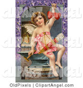 Illustration of a Sweet Vintage Valentine of Cupid Forging Two Valentine Hearts, Sitting on an Anvil with Arrows Hanging from His Chest, Circa 1911. by OldPixels