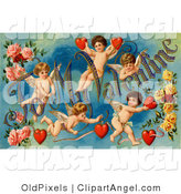 "Illustration of a Sweet Vintage Valentine of Five Playful Cupids with Roses, Decorated ""To My Valentine"" Text with Red Hearts, Circa 1911 by OldPixels"