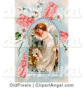 Illustration of a Sweet Young Victorian Easter Angel Smelling Spring Flowers, in a Window over a Pink Floral Cross with Poet's Daffodils by OldPixels