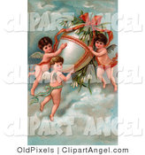 Illustration of a Trio of Victorian Cherubs Transporting a Giant Easter Egg with Flowers in the Sky by OldPixels