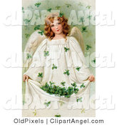 July 19th, 2012: Illustration of a Vintage Victorian St Patrick's Day Scene of a Pretty Young Irish Angel Holding up Her Gown to Catch Falling Clovers, Circa 1909 by OldPixels