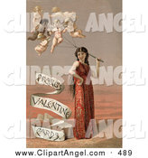 Illustration of a Vintage Woman with Cherub Balloons by JVPD