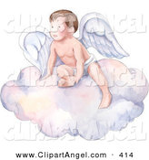 Illustration of a Winged Baby Cherub Angel Resting on a Cloud by Gina Jane