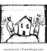 Illustration of a Woodcut House Between Good and Bad by Xunantunich