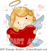 Illustration of an Angel Girl Hugging a Heart by BNP Design Studio