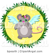 Illustration of an Angel Mouse in a Circle by Bpearth