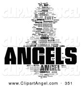 Illustration of an Angels Word Collage on Solid White by MacX