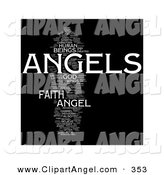 Illustration of an Angels Word Collage over Black by MacX
