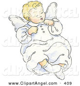 Illustration of an Cute and Innocent Blond Angel Baby Sleeping by Gina Jane