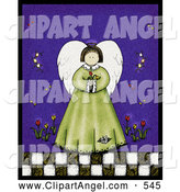 Illustration of an Folk Art Styled Spring Angel with Wings Holding Tulip Flowers by Inkgraphics