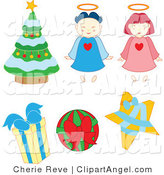 Illustration of Christmas Angels Baubles Tree and Gifts by Cherie Reve