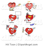 Illustration of Musician Angel Sign Devil Uncle Same and Graduate Holiday Hearts by Hit Toon