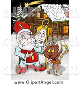 Illustration of Santa with a Devil and Angel by a Christmas Cabin by Dero
