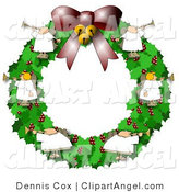 Illustration of Six Angels on a Christmas Wreath, Playing Horns by Djart