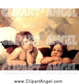 Illustration of Two Thinking Cherubs from Sistine Madonna by Prawny Vintage
