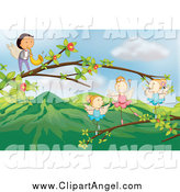 Illustration Vector Cartoon of a Angel Ballerinas Dancing and a Male Playing a Saxophone on Branches by Graphics RF