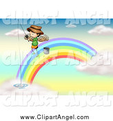 Illustration Vector Cartoon of a Angel Boy Fishing on a Rainbow in Heaven by Graphics RF