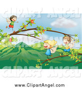 Illustration Vector Cartoon of a Angel Children Playing on Branches by Colematt