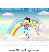 Illustration Vector Cartoon of a Angel Ribbon Dancer Girl by a Rainbow by Graphics RF