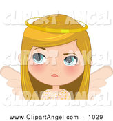 Illustration Vector Cartoon of a Annoyed Blond White Angel Christmas Girl by Melisende Vector