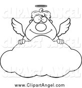 Illustration Vector Cartoon of a Black and White Angel Man Smiling over a Cloud by Cory Thoman