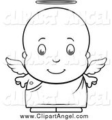 Illustration Vector Cartoon of a Black and White Baby Boy Angel by Cory Thoman