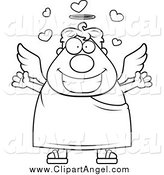 Illustration Vector Cartoon of a Black and White Chubby Loving Angel by Cory Thoman