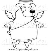 Illustration Vector Cartoon of a Black and White Flying Angel Dog by Cory Thoman