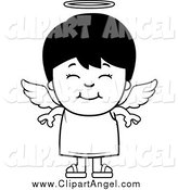 Illustration Vector Cartoon of a Black and White Happy Angel Boy by Cory Thoman