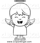 Illustration Vector Cartoon of a Black and White Happy Angel Boy Cheering by Cory Thoman