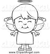 Illustration Vector Cartoon of a Black and White Happy Angel Girl by Cory Thoman