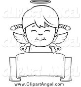 Illustration Vector Cartoon of a Black and White Happy Angel Girl over a Blank Ribbon Banner by Cory Thoman