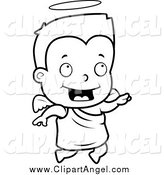Illustration Vector Cartoon of a Black and White Happy Angel Toddler Flying by Cory Thoman