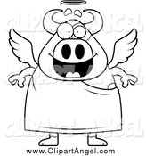 Illustration Vector Cartoon of a Black and White Happy Cow Angel by Cory Thoman