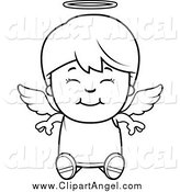 Illustration Vector Cartoon of a Black and White Happy Sitting Angel Boy by Cory Thoman