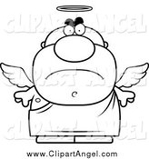 Illustration Vector Cartoon of a Black and White Mad Male Angel by Cory Thoman