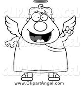 Illustration Vector Cartoon of a Black and White Smart Angel Man by Cory Thoman