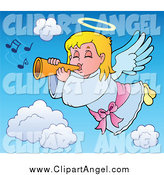 Illustration Vector Cartoon of a Blond Angel Girl with a Trumpet by Visekart