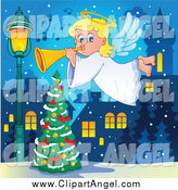 Illustration Vector Cartoon of a Blond Christmas Angel Girl Playing a Horn over a Tree by Visekart